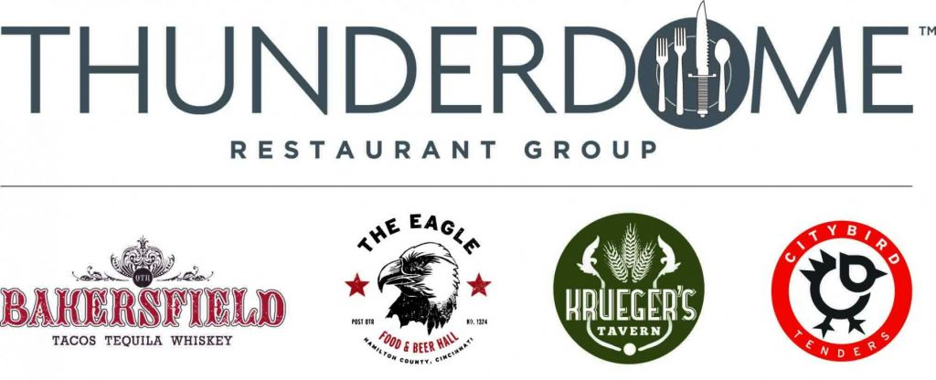 logos for Thunderdome Restaurant group, Bakersfield, The Eagle, Krueger's Tavern, City Bird Tenders