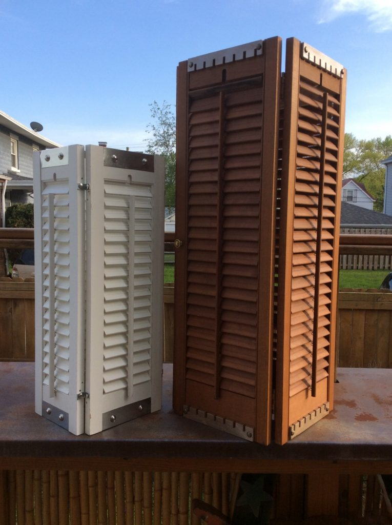 White and brown garden shutter lights